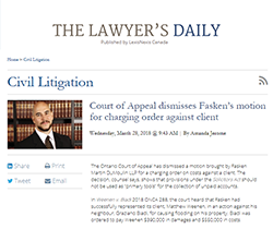 Ontario Court of Appeal Win Featured in 2018 Lawyer's Daily Article